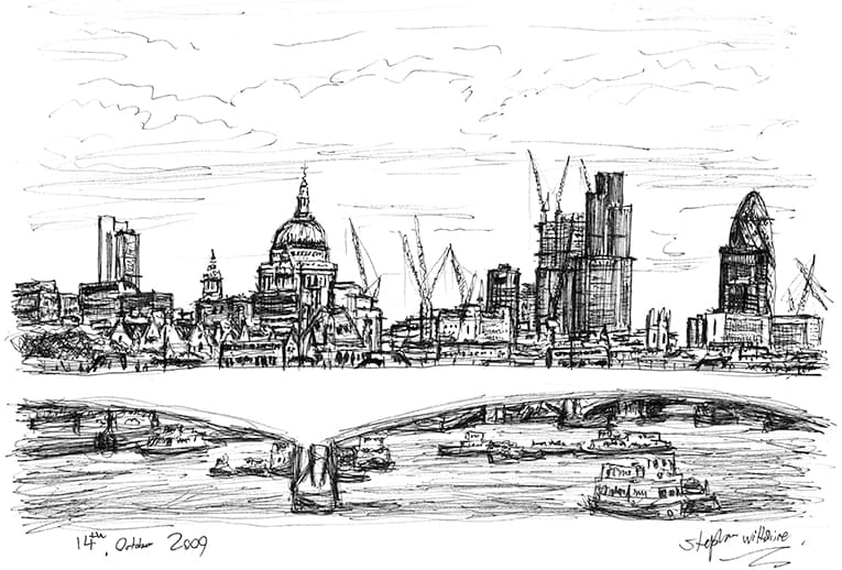 St Pauls and the City of London skyline - Original Drawings and Prints for Sale