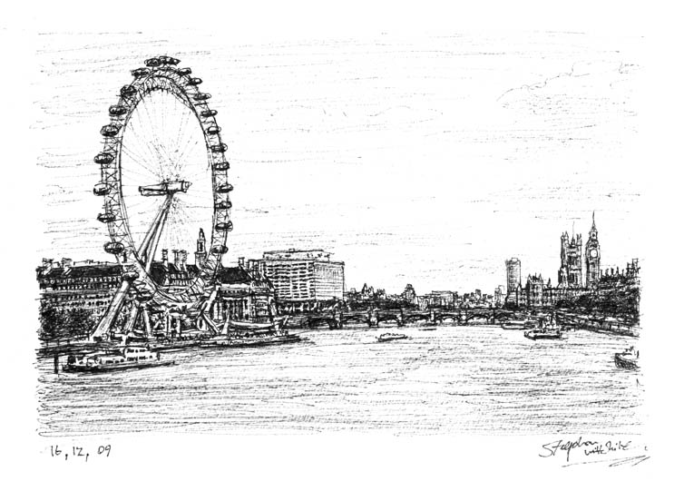 Birds Eye View of London Eye and Houses of Parliament - Original Drawings and Prints for Sale