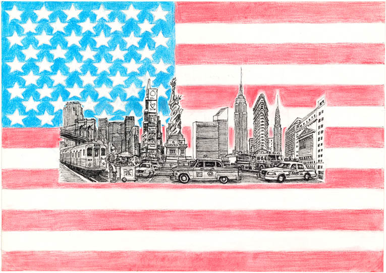 America montage - original drawings and prints by Stephen Wiltshire