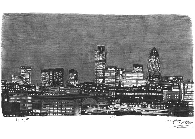 London City Skyline at night - drawings and paintings by Stephen Wiltshire MBE