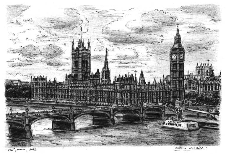 Houses of Parliament (London) (A4 print) with White mount (A4)