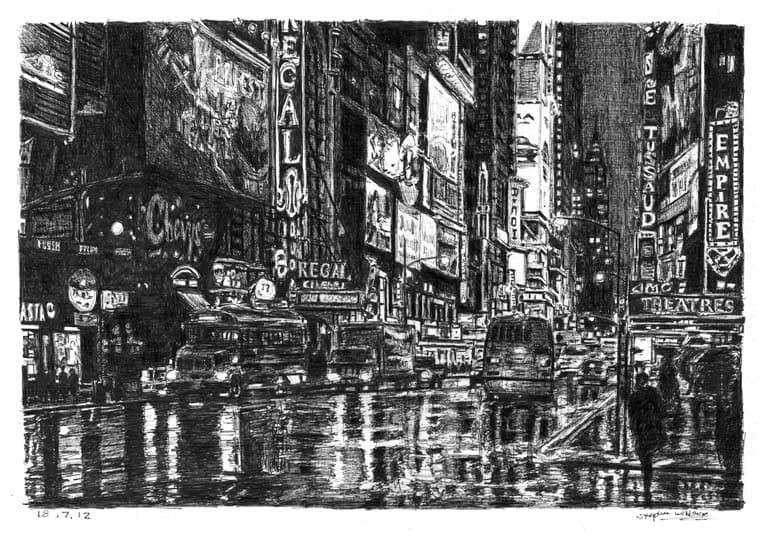 Times Square street scene - original drawings and prints by Stephen Wiltshire