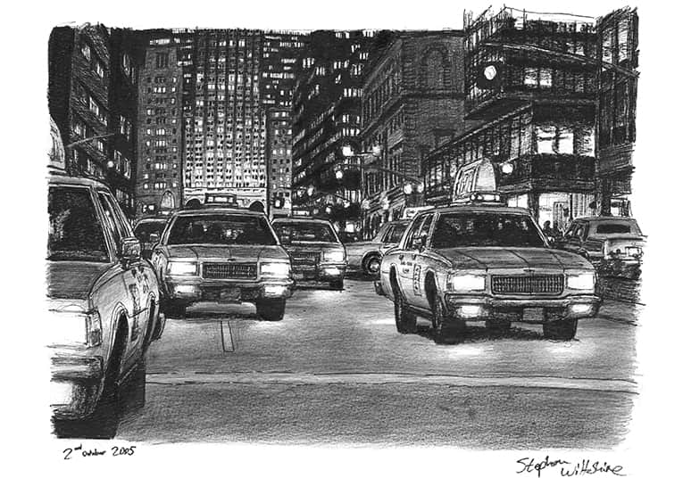 Some yellow New York taxis at Park Avenue at night - original drawings and prints by Stephen Wiltshire