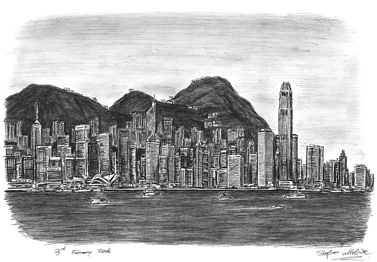 Hong Kong Skyline - originals and prints by Stephen Wiltshire MBE