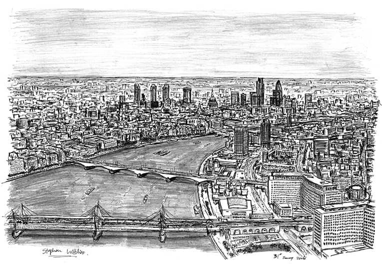 Birds eye view of London from London Eye - original drawings and prints by Stephen Wiltshire