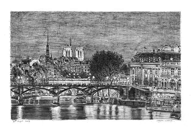 Paris at night - originals and prints by Stephen Wiltshire MBE