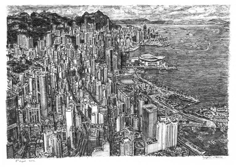 Aerial view of Hong Kong (A4 print) with White mount (A4) in Flat grain black frame for A4 mounts (J90)