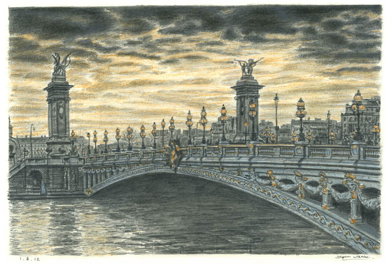 Pont Alexandre III, Paris - original drawings and prints by Stephen Wiltshire