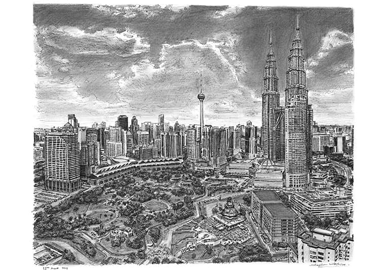 Kuala Lumpur skyline - drawings and paintings by Stephen Wiltshire MBE