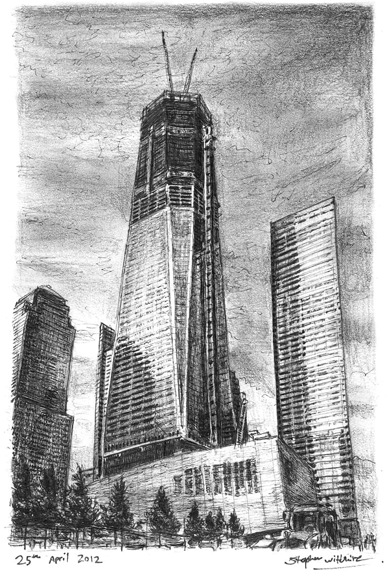 Freedom Tower in construction  - drawings and paintings by Stephen Wiltshire MBE