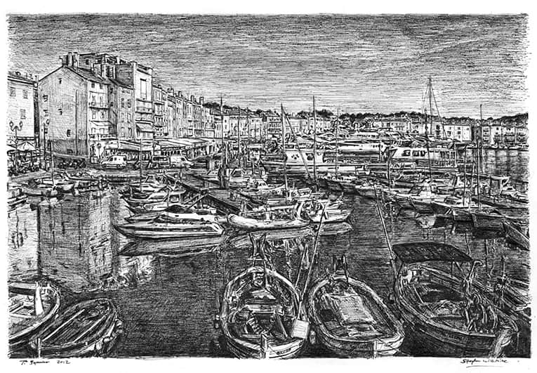Saint Tropez (A4 print) with White mount (A4) in Flat grain black frame for A4 mounts (J90)