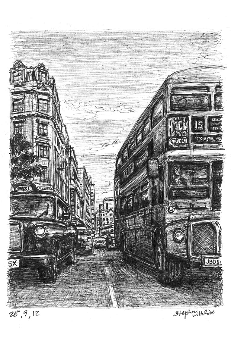 London Taxi and Bus at Haymarket - original drawings and prints by Stephen Wiltshire