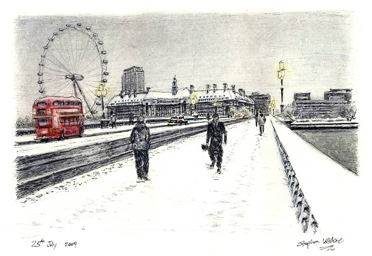 Snow Scene at Westminster Bridge (A4 print) with White mount (A4)
