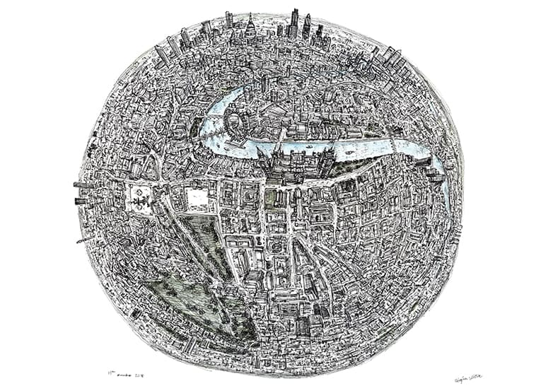 The Globe of London - original drawings and prints by Stephen Wiltshire