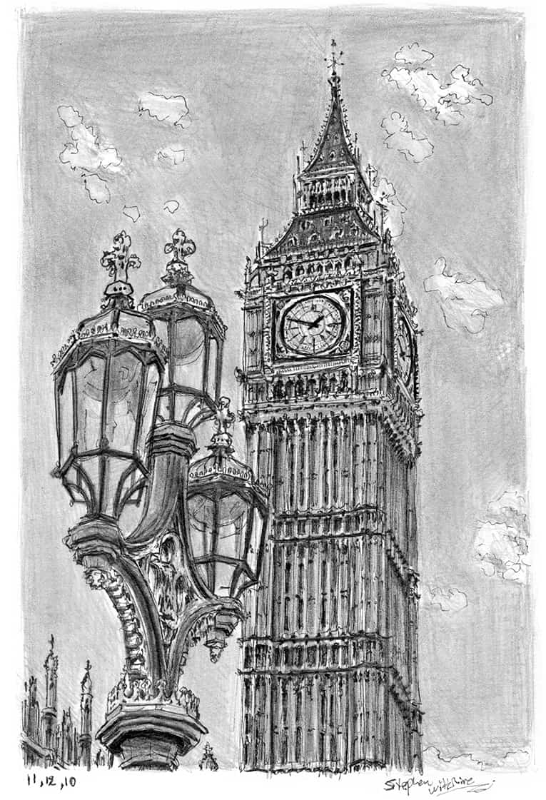 Line Drawing Tattoo London : Big ben original drawings prints and limited editions