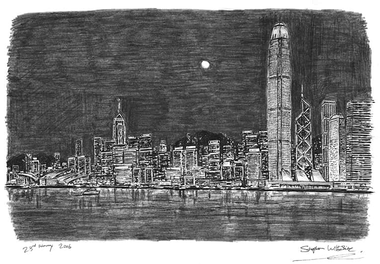 Hong Kong Skyline at night - original drawings and prints by Stephen Wiltshire