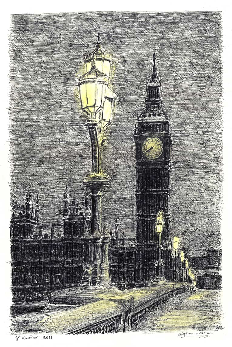 Big Ben on a winter evening - originals and prints by Stephen Wiltshire MBE
