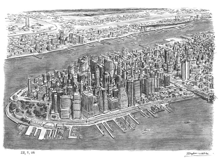 Aerial view of Financial District, NY - drawings and paintings by Stephen Wiltshire MBE