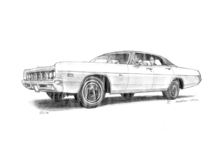 1969 Dodge Polara 4 door Hard Top Sedan - drawings and paintings by Stephen Wiltshire MBE