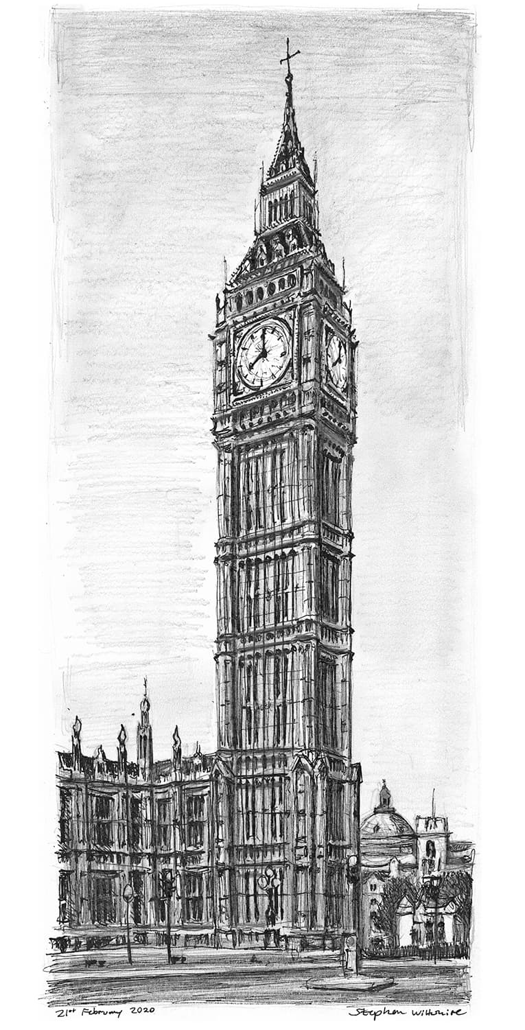 Elizabeth Tower, Big Ben, London - Original Drawings and Prints for Sale