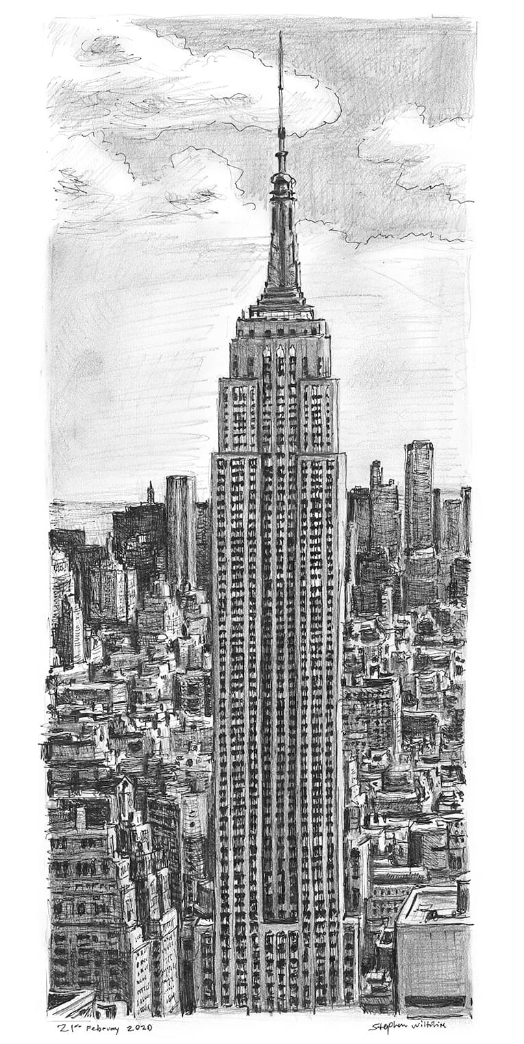 Empire State Building, New York - original drawings and prints for sale