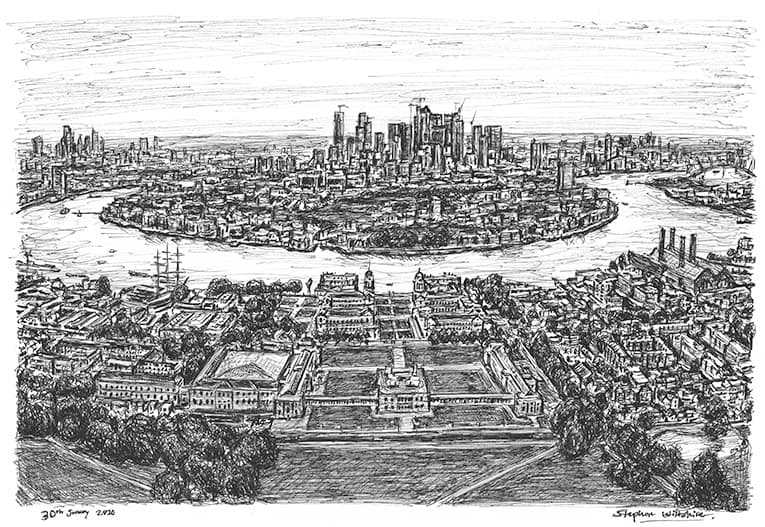 Canary Wharf from the Greenwich Observatory with White mount (A3) in Cushioned Black frame for A3 mounts (C59)