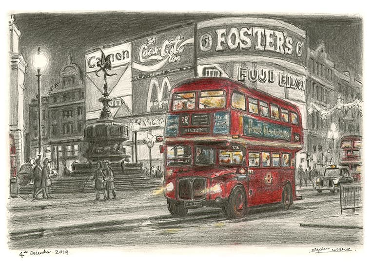 London bus at Piccadilly Circus, London with White mount (A4) in Cushioned Black frame for A4 mounts (C59)