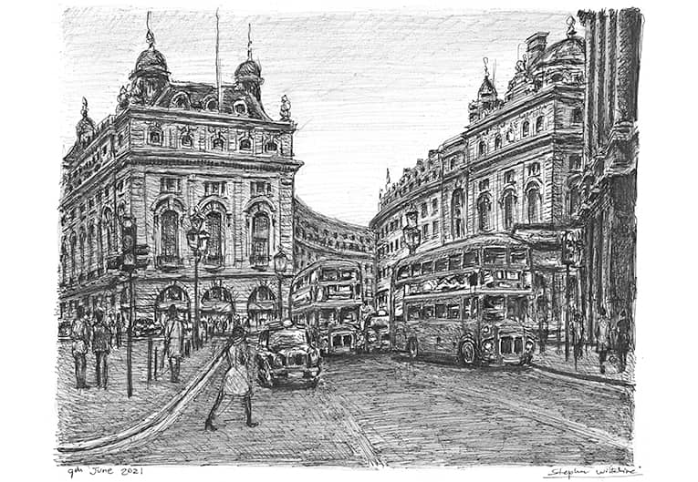 Piccadilly Circus, London with White mount (A3) in Cushioned Black frame for A3 mounts (C59)