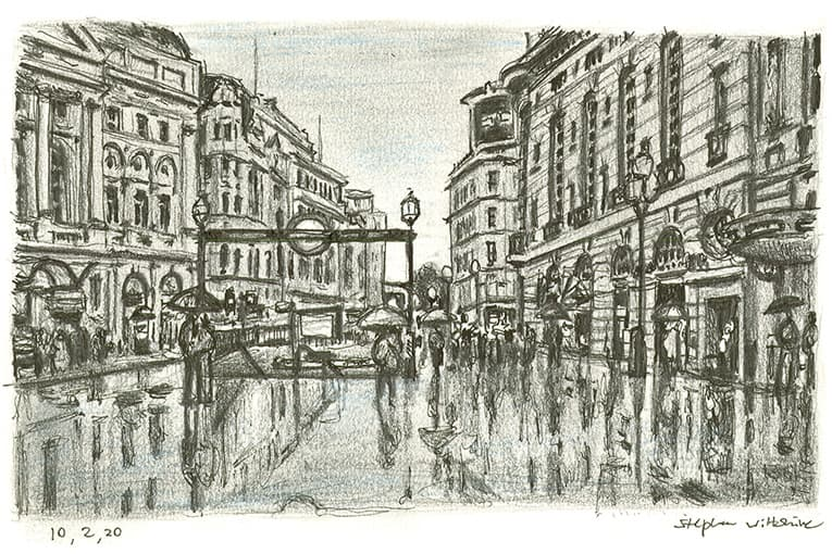 Piccadilly Circus on a rainy day - original drawings and prints by Stephen Wiltshire