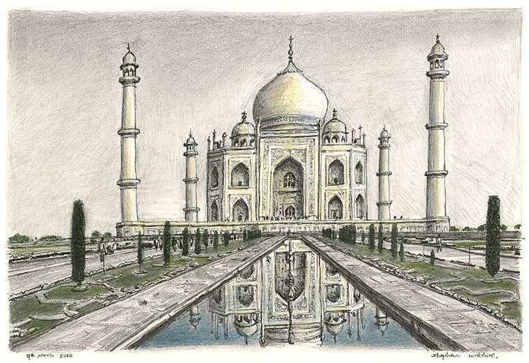 Taj Mahal, India with White mount (A3) in Cushioned Black frame for A3 mounts (C59)