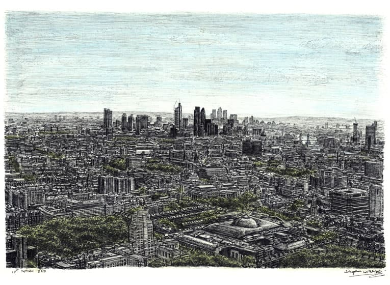 View of London from the top of BT Tower (A4 print) with White mount (A4)