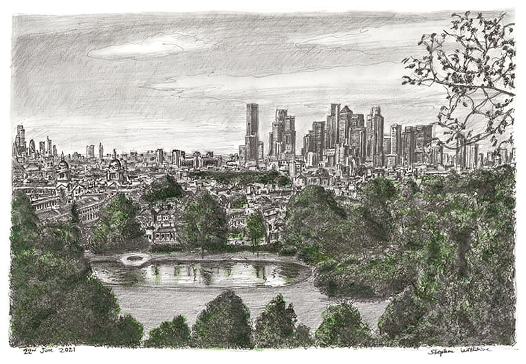 Canary Wharf Skyline (Limited Edition of 50) with White mount (A2) in Flat grain black frame for A2 mounts (J90)