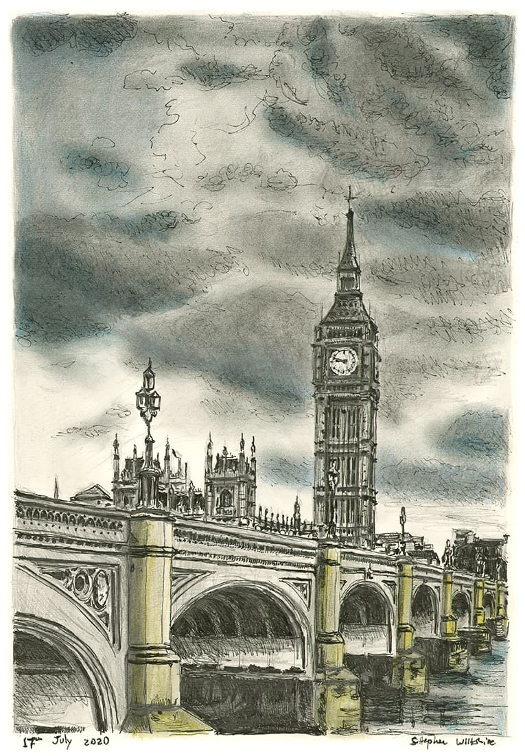 Westminster Bridge and Big Ben with White mount (A3) in Cushioned Black frame for A3 mounts (C59)