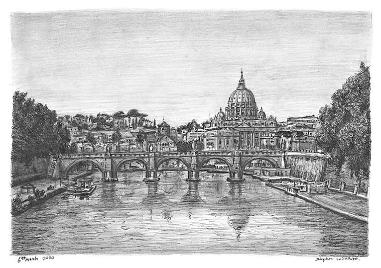 Rome, Italy with White mount (A3) in Flat hessian black frame for A3 mounts (P70)