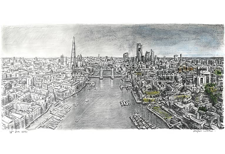Graduation of Tower Bridge and River Thames with White mount (A2) in Flat grain black frame for A2 mounts (J90)