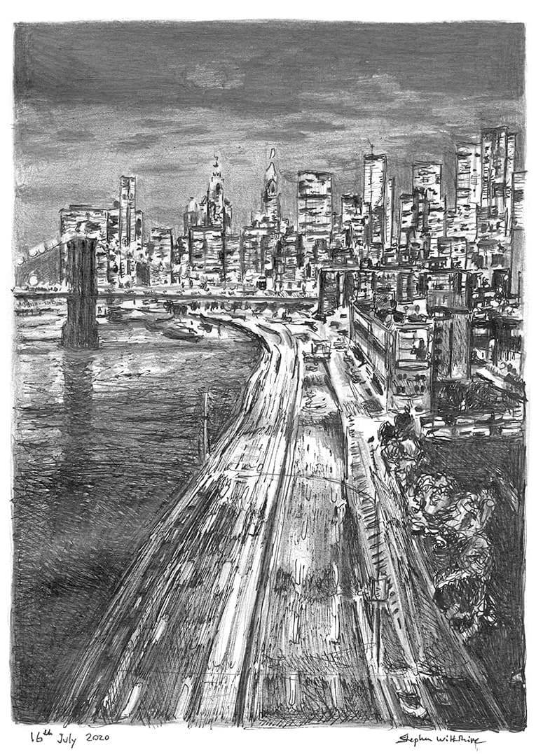 New York City freeway at night with White mount (A4)
