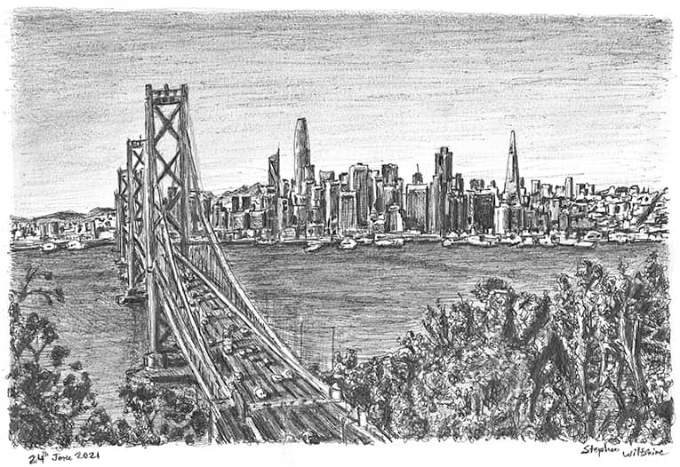 San Francisco Skyline with White mount (A4) in Cushioned Black frame for A4 mounts (C59)