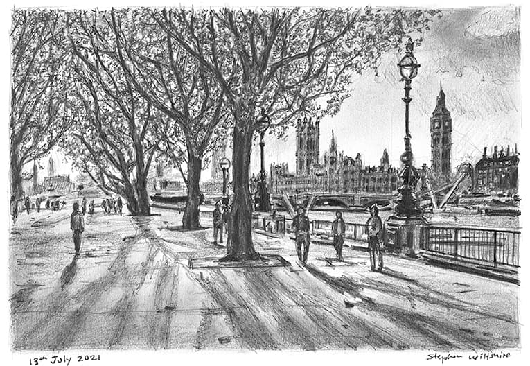 Southbank and Houses of Parliament with White mount (A4) in Cushioned Black frame for A4 mounts (C59)