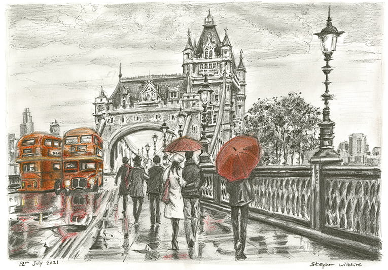 Tower Bridge in the rain with White mount (A3) in Cushioned Black frame for A3 mounts (C59)