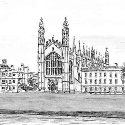 Kings College Cambridge - Drawings - Originals, prints and limited editions