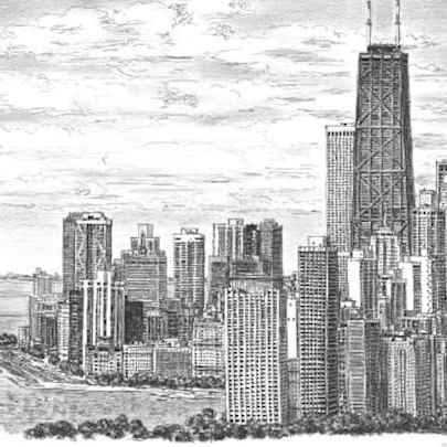 Chicago Skyline 2005 (Limited Edition of 25) - Drawings - Prints for sale