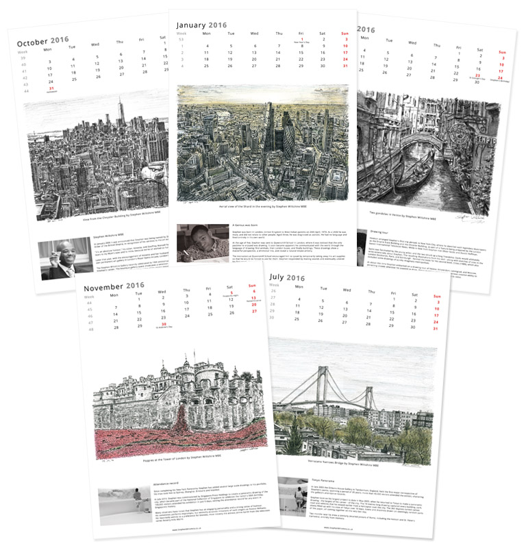 Special Edition 2016 Calendar - originals and prints by Stephen Wiltshire MBE