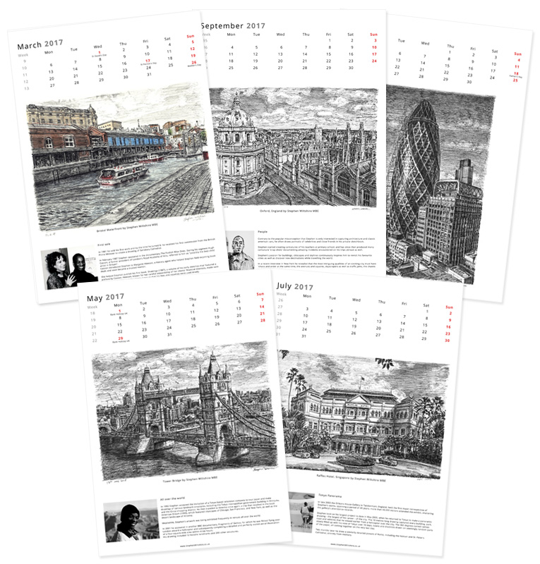 Stephen Wiltshire 2017 Calendar - originals and prints by Stephen Wiltshire MBE
