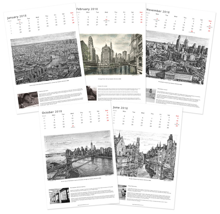 Stephen Wiltshire 2018 Calendar - originals and prints by Stephen Wiltshire MBE