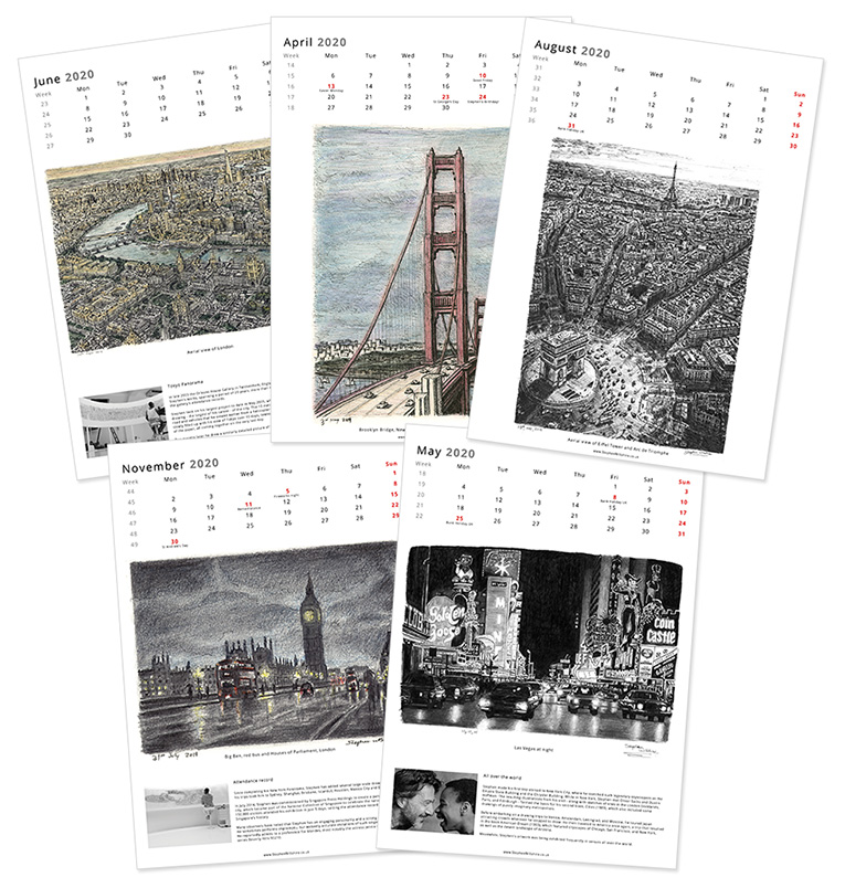 Stephen Wiltshire 2020 Calendar - original drawings and prints by Stephen Wiltshire