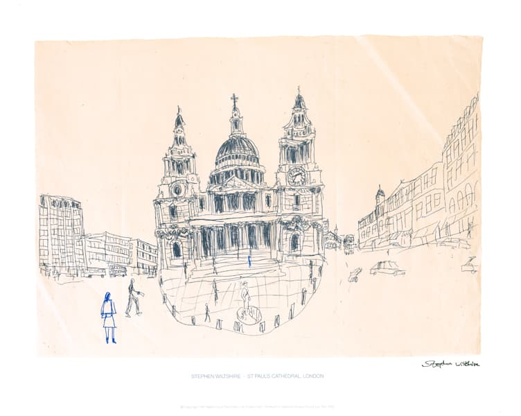 St Pauls, London 1983 (signed) - originals and prints by Stephen Wiltshire MBE