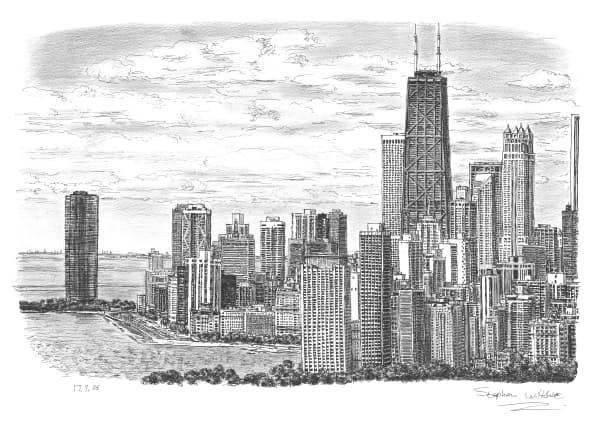 Chicago Skyline 2005 Limited Edition Of 25 Original Chicago Skyline Coloring Page