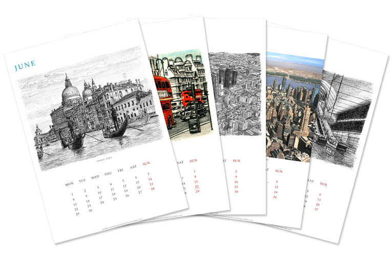 Stephen Wiltshire 2009 Calendar - originals and prints by Stephen Wiltshire MBE