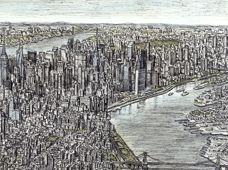 Aerial view of Manhattan Skyline 2011