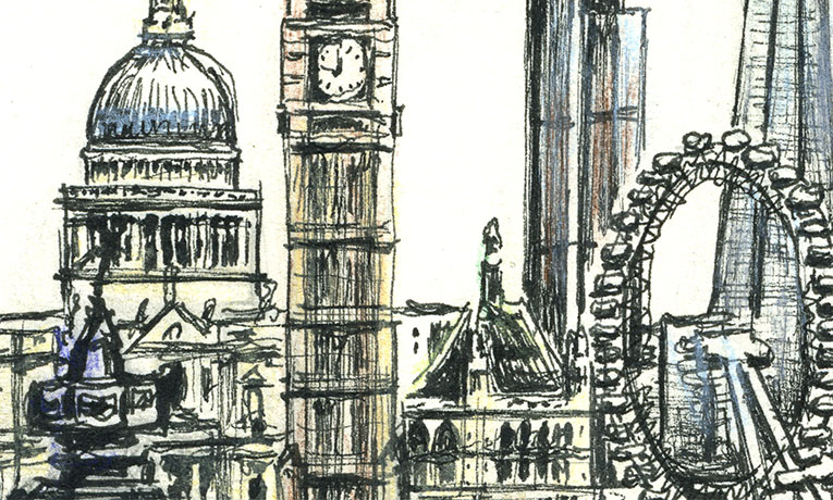 Line Art Limited : London montage original drawings prints and limited